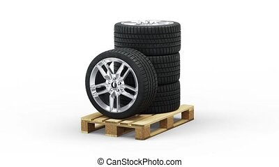 Four Sport Wheels stacked on a Standard pallet in Infinite Rotation with a white background
