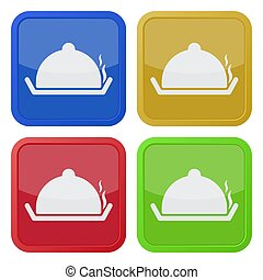 four square color icons, serving tray with lid