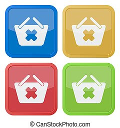 four square color icons, shopping basket cancel