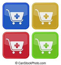 four square color icons, shopping cart plus
