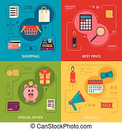 Four square composition banners with shopping icons in flat style