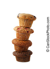 four stacked muffin isolated on white background
