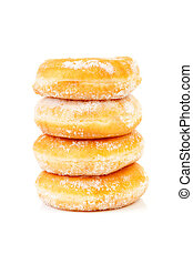Four stacked sugared delicious donuts over white background