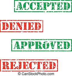 Four stamp with grunge. Accepted, denied, aproved, rejected