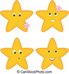 four stars - set of four yellow stars with different facial...