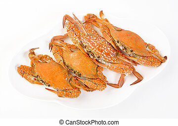 four steamed crab on a plate
