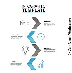 four step arrow vector infographic template