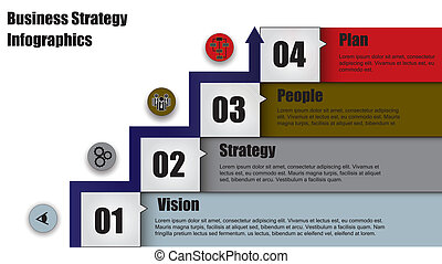Concept Illustration of four step business strategy or business plan with arrow heading up