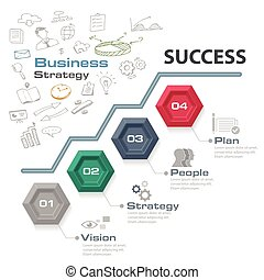 Four step business strategy for success, Vector graphic.