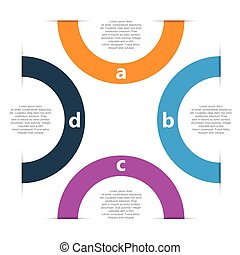 four step circle vector infographic template