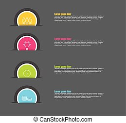 four step paper circle vector infographic template with icons