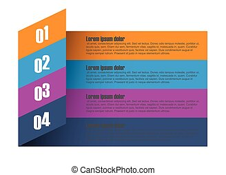 four step paper vector infographic template