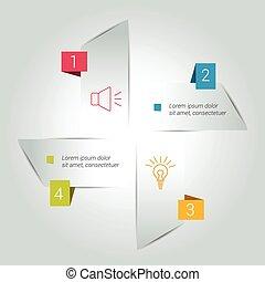 Four steps arrow scheme, chart, diagram, module.