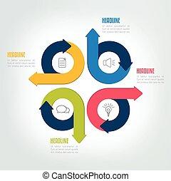 Four steps circle arrow infographic scheme, template, chart, diagram, module.