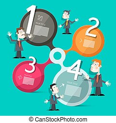 Four Steps Circle  Infographic Layout with People
