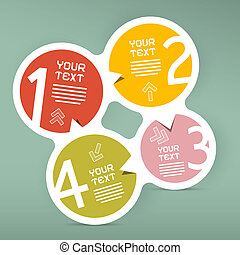 Four Steps Circle Vector Paper Infographic Template