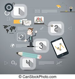 Four Steps Infographics Layout with Business Man and Technology Device Icons