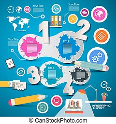 Four Steps Modern Infographics Layout with Colorful Icons on Blue Background