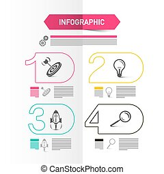 Four Steps Modern Web Presentation with Icons and Sample Texts. Vector Infographics Design. Business Data Flow Chart Infographic Concept.