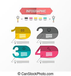 Four Steps Vector Infographic Layout with Paper Labels. Data Flow Chart. Infographics Design with Numbers.
