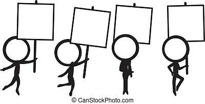 four stick figure with signboard - four simple stick figure ...