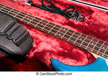 Four-string bass guitar in case