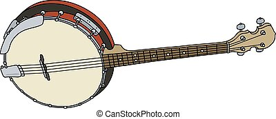 Four strings banjo - Hand drawing of a classic red four...