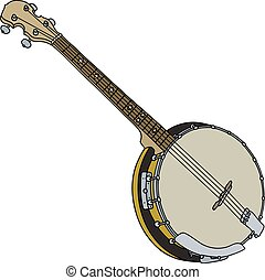 Four strings banjo - Hand drawing of a classic four strings...