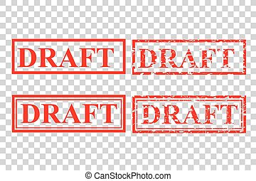 four style red rubber stamp effect, draft at transparent effect background