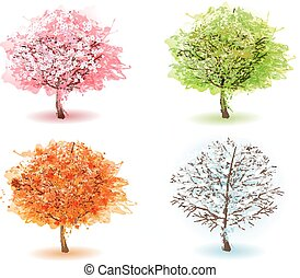 Four stylized trees representing different seasons. Vector.
