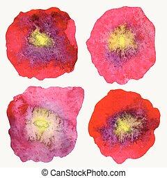 Four stylized watercolor poppy flow