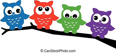 four sweet colorful owls