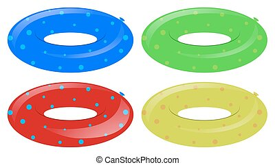 Four swim rings in different colors