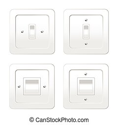four switches for light vector illustration on white