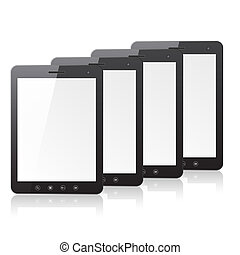 Four tablet PC computer with blank screen