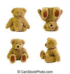 four teddy bears in different positions