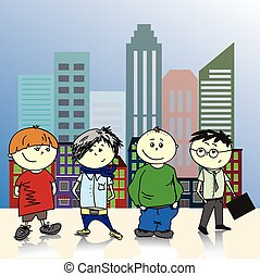 Four teenage boy on a background of the city, vector illustration.