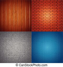 Four Textures with Light Spot. Vector Background