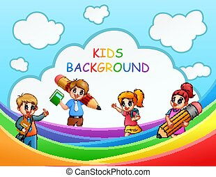 Four the school kids over the rainbow illustration