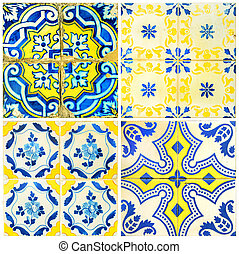 Four tiles in yellow and blue
