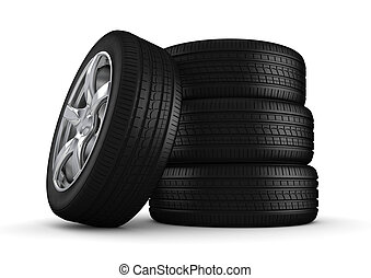 Four tires isolated close-up - 3d isolated on white ...