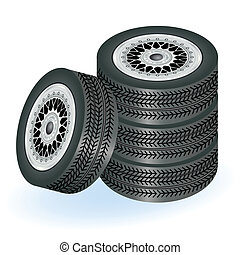 Four tires  - Realistic tires vector illustration