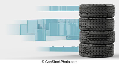 Four tires stacked on top of each other
