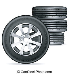 Tires - Four Tires, vector isolated on white background