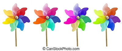 four toy windmills