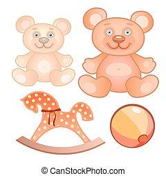 Four toys set - Vector illustration of a four toys set