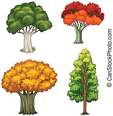 Four trees with different colors - Illustration of the four...