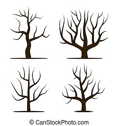 Four trees without leaves