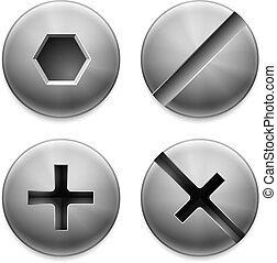 Set of different bolt heads on white background. Hardware and tools.