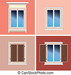 Four types of classical windows, closed with shutters, open...